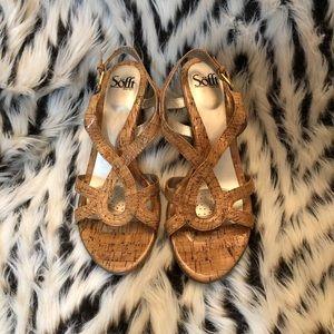 Sofft Glazed Cork & Gold Wedge Sandal